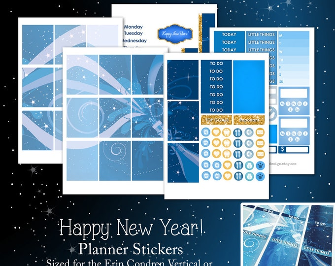 Happy New Year- Weekly Planner Sticker Kit for Erin Condren Life Planner or The MAMBI Happy Planner