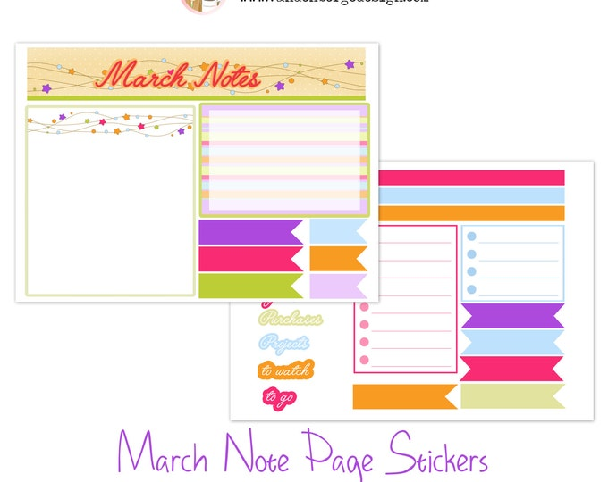 Notes Page Stickers- March -Perfect For The Erin Condren Life Planner!