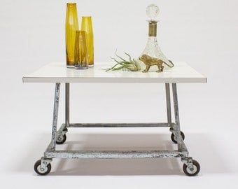 Industrial Side Table / Coffee Table / Rolling Cart, White Furniture