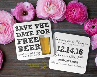 Coaster Save the Date - Free Beer - with a wedding on the side, beer glass, illustration, free drinks