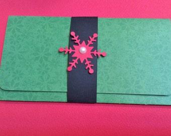 Christmas Card, Money/Gift/Check Holder, Green, Black Band, Red Snowflake, Pearl Gem, Handmade, Wreath Inside
