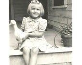 "Vintage Snapshot ""Quack, Quack"" Pet Duck Pretty Little Girl Rural America 1941 Found Photo"