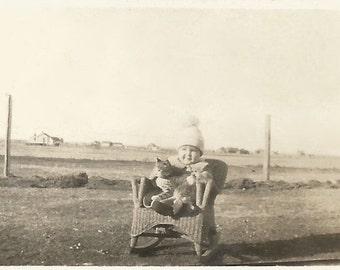 "Vintage Photo ""Her First Pet"" Cute Little Girl With Kitten - Child's Wicker Rocker Baby Hat With Pom Pom - Found Vernacular Antique Snapshot"