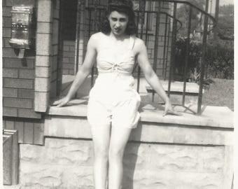 "Vintage Snapshot ""Bathing Beauty"" Swimsuit Pretty Girl Urban Neighborhood Telephone Poles 1940's Found Vernacular Photo"