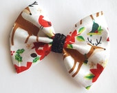 Christmas hair bow - black glitter hair bows -holiday stocking stuffer for baby toddler girls- clips hair accessories