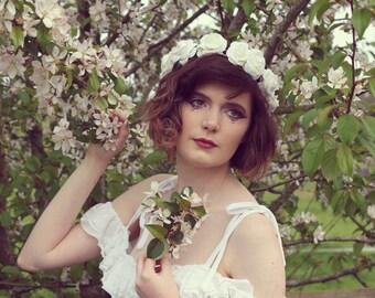 White rose hairband,  summer flower crown, rose headband