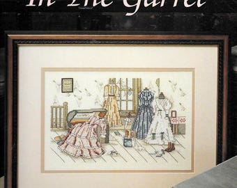 In the Garret Counted Cross Stitch Pattern Chart by Paula Vaughan, Book Thirty-Three, 1990 Leisure Arts Leaflet 885, Victorian Dresses