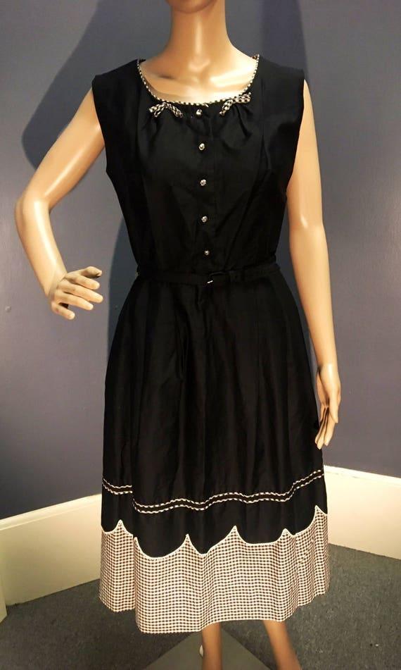 Vintage 1950s Deadstock Black White Gingham Cotton Dress W Belt Large