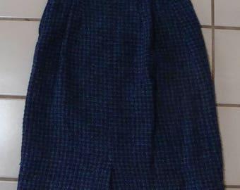 "BLUE TWEED vintage pencil SKIRT high 26.5"" waist"
