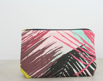 Wild palm tree cosmetic pouch Palm tree makeup pouch Palm toiletry bag Summer essentials pouch Beach pouch Pink palm pouch Travel pouch