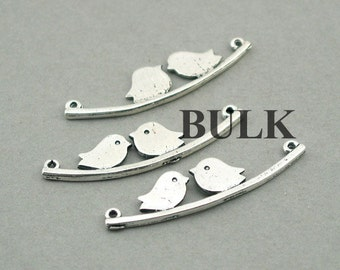 Bird Charm Link Connector BULK order Lovebird on a branch charms Antique Silver 20pcs pendant beads 11X44mm CM0782S