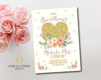 Little Sweetheart Invitation, Valentine's Day Invitation, First Birthday Invite, Printable, DIY, Gold Heart, Floral, Watercolor
