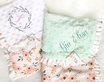 Pink Peony - Mint Turquoise Pink Floral - Gold White Polka Dot Cotton Ruffle Minky Crib Stroller Blanket - boho woodland personalized