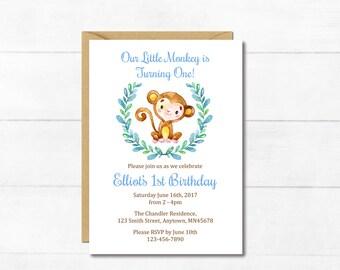 Blue Monkey First Birthday Invite, Printable Monkey First Birthday Invitation, Boy Blue Brown Monkey Birthday Invitation, Download 306-B