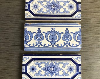 3 Blue and White Border Tiles 1910-1920 Rectangle Pretty Classic Navy Accent tile mixed set of 3