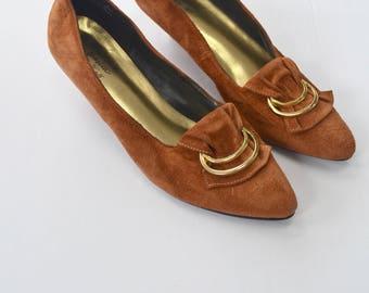 Jessica Vintage caramel false suede shoes