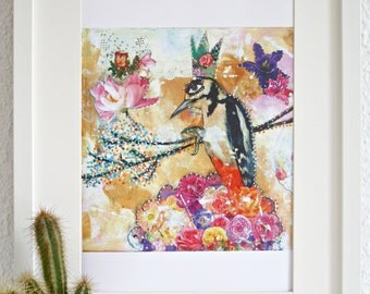 Whimsical woodpecker and blossom art print.