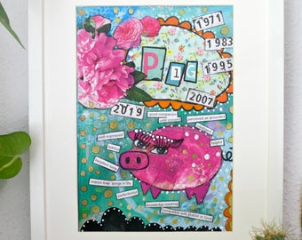 Chinese astrology year of the Pig art print.