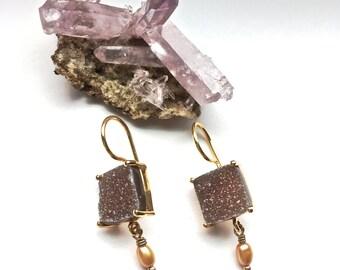 Druzy-Druze-Mauve Quartz Earrings-Dangle Earrings- with Pearl