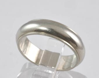 Wide Wedding Ring - Vintage White 14K Gold Wedding Band - Milgrain Beaded Edge - Sz 5.5