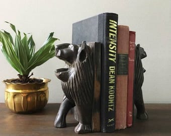 Wood Carved Lion Bookends