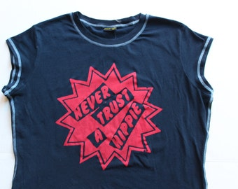 Never Trust A Hippie - Punk T-shirt -Contrast Seams Edge- Seditionaries Westwood - Navy Blue- Stretch Cotton -womens Fitted - plus size