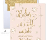 Baby It's Cold Outside Invitation Winter Baby Shower Invitation Girl Baby Shower Invitation Pink and Gold Baby Shower Girl Winter - Mila