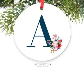 Initial Ornament Personalized Ornament Family Name Monogram Ornament Rustic Wildflowers Custom Monogrammed Ornament Letter Ornament - Holman
