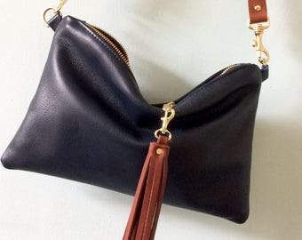 Navy leather cross body bag, cross body purse, leather clutch bag