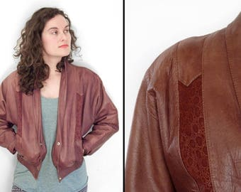 Leather Bomber Blazer PACO Sport 1990s Cropped Brown Jacket S M