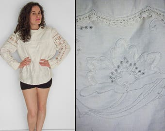 White EMBROIDERED Blouse 1970s B.J. Designs Handmade Lace Cotton Long Sleeve