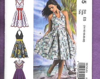 McCall's 6745 Misses' Dress With HalterTop, Sleeveless, Or Capped Sleeves, And Full Pleated Skirt, Sizes 14-16-18-20-22, NEW/UNCUT