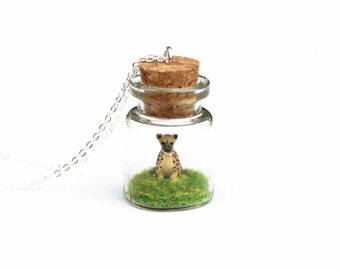 Hyena Necklace, Terrarium, Wildlife Jewellery, Miniature Animal in a Bottle Necklace, African Spotted Hyena - 3cm bottle, 16 inch chain