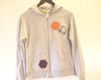 SALE: Heather grey women's hooded sweatshirt with hexagon applique - pop of colour