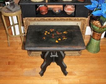 Folk Art Painted End Table Vintage 1930s