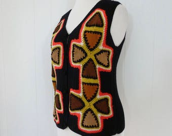70's Suede Patchwork Crochet Vest Hippie Boho Patched Sleeveless Sweater Festival Knit M L