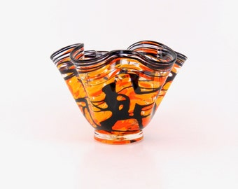 Hand Blown Glass Bowl in Orange