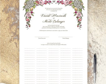 Wedding Certificate - Garden in Pinks and Reds - Fits Standard Frame Size
