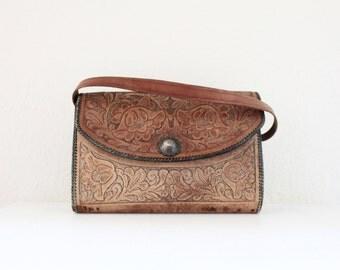 Vintage 60's Tooled Leather Hard Shell Saddle Handbag