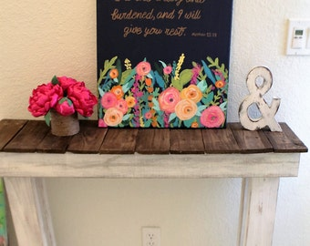 Bible verse canvas art with flowers. Modern colorful painting