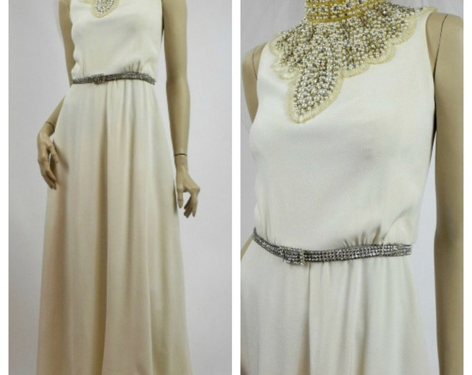 Couture 1960's Wedding Dress with Beaded Pearl & Rhinestone Collar - Winter White Column Dress - Vintage Wedding Gown - Beaded Evening Gown