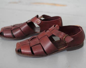 RESERVED Fisherman mahogany leather sandals 39