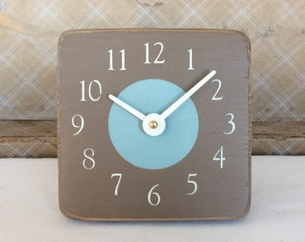 Unique Wood Wall and Desk Clock in Chocolate Brown and Light Blue