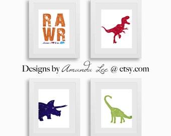 Dinosaur Art Print - Set of Four 8x10 - Classic Dinosaur - Primary Dinosaur - Dinosaur Room -  Designer Set 9