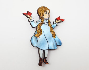 Wizard of Oz Dorothy Gale Ruby Slippers Vintage Illustration Wooden Brooch Pin Badge Jewellery Gift For Her Stocking Filler