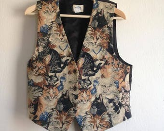 Vintage Embroidered Cat Vest