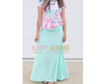 Solid Mint Women's Wrinkle Free Knit Maxi Skirt Long Modest Slimming Custom Wedding Bridesmaid Apparel Light Aqua