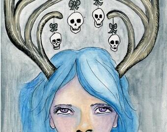 Christmas Art ORIGINAL 5.5x8.5 watercolor on paper // Annoyed Reindeer Girl // Blue hair, antlers, hanging skulls, december, winter