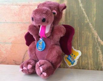Pink Dragon Plush • Vintage 80s Dankin Dragon • Pink Dragon Stuffed Animal • Collectible with Tags • Corduroy Dragon • Small Dragon Plush