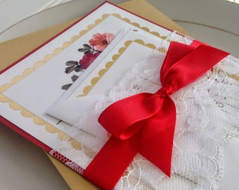 Floral Wedding Invitation. Metallic Gold Foil Floral Invitation.  Romantic Wedding.  Lace and Satin Ribbon. Floral or Garden Wedding.